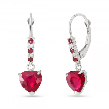 Ruby & Diamond Drop Earrings in 9ct White Gold