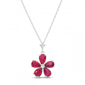 Ruby & Diamond Flower Petal Pendant Necklace in 9ct White Gold