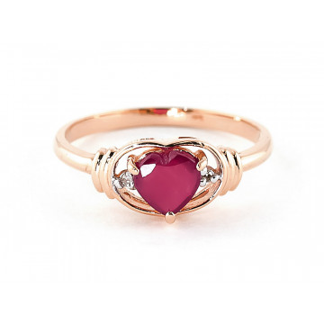 Ruby & Diamond Halo Heart Ring in 9ct Rose Gold