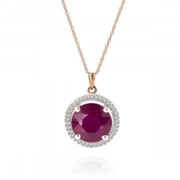 Ruby & Diamond Halo Pendant Necklace in 9ct Rose Gold