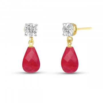 Ruby & Diamond Illusion Stud Earrings in 9ct Gold