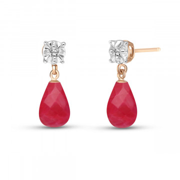 Ruby & Diamond Illusion Stud Earrings in 9ct Rose Gold