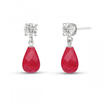 Ruby & Diamond Illusion Stud Earrings in 9ct White Gold
