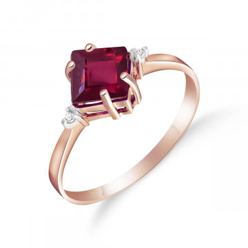 Ruby & Diamond Princess Ring in 9ct Rose Gold
