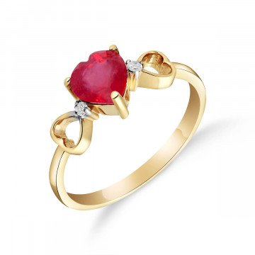Ruby & Diamond Trinity Ring in 9ct Gold