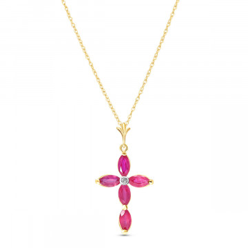 Ruby & Diamond Vatican Cross Pendant Necklace in 9ct Gold