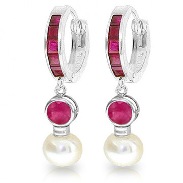 Ruby & Pearl Huggie Earrings in 9ct White Gold