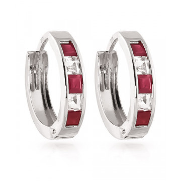 Ruby & White Topaz Huggie Earrings in 9ct White Gold