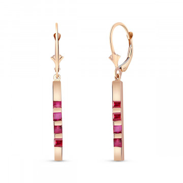 Ruby Bar Drop Earrings 0.7 ctw in 9ct Rose Gold