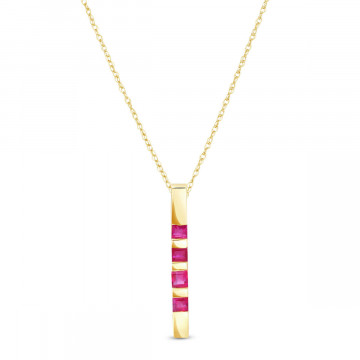Ruby Bar Pendant Necklace 0.35 ctw in 9ct Gold