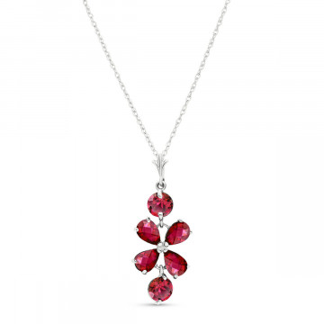 Ruby Blossom Pendant Necklace 3.15 ctw in 9ct White Gold