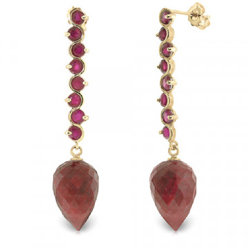 Ruby Briolette Drop Earrings 29.2 ctw in 9ct Gold
