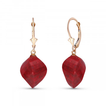 Ruby Briolette Drop Earrings 30.5 ctw in 9ct Rose Gold