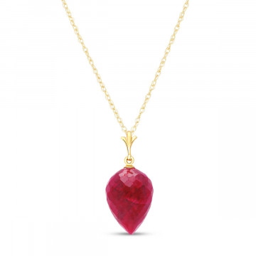 Ruby Briolette Pendant Necklace 13 ct in 9ct Gold
