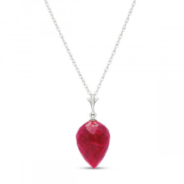 Ruby Briolette Pendant Necklace 13 ct in 9ct White Gold