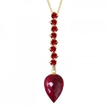 Ruby Briolette Pendant Necklace 14.55 ctw in 9ct Gold