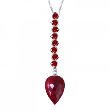Ruby Briolette Pendant Necklace 14.55 ctw in 9ct White Gold