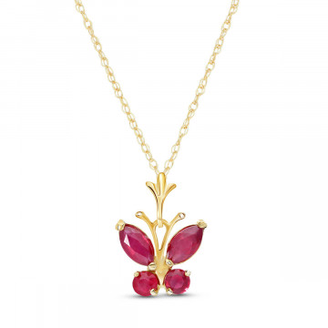 Ruby Butterfly Pendant Necklace 0.6 ctw in 9ct Gold