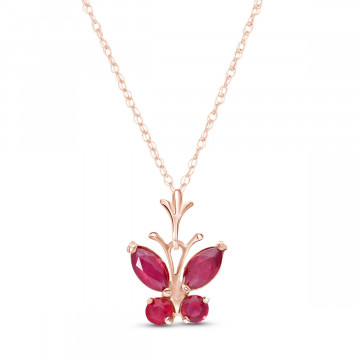 Ruby Butterfly Pendant Necklace 0.6 ctw in 9ct Rose Gold