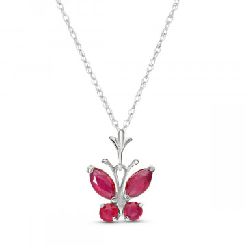 Ruby Butterfly Pendant Necklace 0.6 ctw in 9ct White Gold