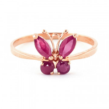 Ruby Butterfly Ring 0.6 ctw in 9ct Rose Gold