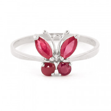 Ruby Butterfly Ring 0.6 ctw in 9ct White Gold