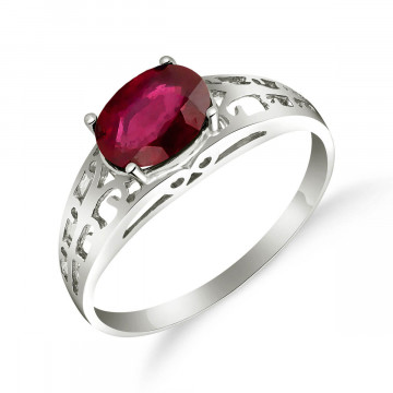 Ruby Catalan Filigree Ring 1.15 ct in 9ct White Gold
