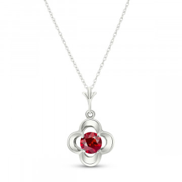 Ruby Corona Pendant Necklace 0.55 ct in 9ct White Gold