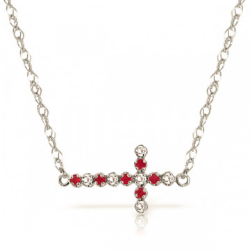Ruby Cross Pendant Necklace 0.24 ctw in 9ct White Gold