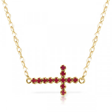 Ruby Cross Pendant Necklace 0.3 ctw in 9ct Gold