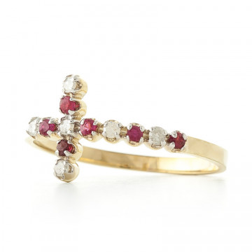 Ruby Cross Ring 0.24 ctw in 9ct Gold