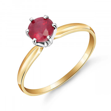 Ruby Crown Solitaire Ring 0.65 ct in 9ct Gold