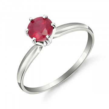 Ruby Crown Solitaire Ring 0.65 ct in 9ct White Gold