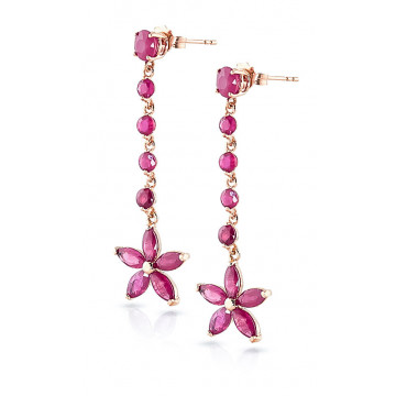 Ruby Daisy Chain Drop Earrings 4.8 ctw in 9ct Rose Gold