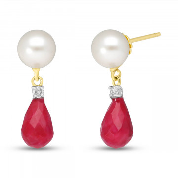 Ruby, Diamond & Pearl Drop Earrings in 9ct Gold
