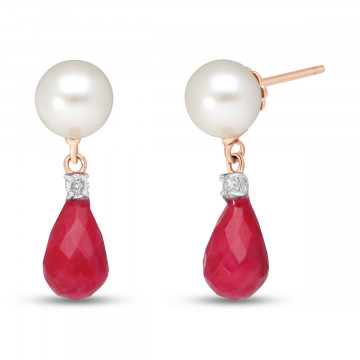 Ruby, Diamond & Pearl Drop Earrings in 9ct Rose Gold