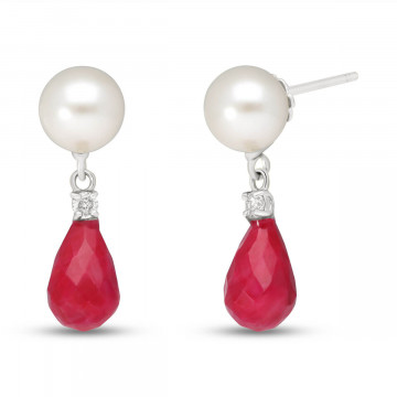 Ruby, Diamond & Pearl Drop Earrings in 9ct White Gold