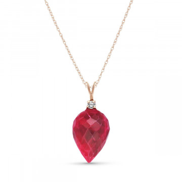 Ruby Drop Pendant Necklace 13.05 ctw in 9ct Rose Gold