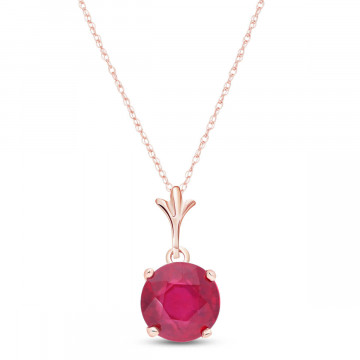Ruby Drop Pendant Necklace 2.25 ct in 9ct Rose Gold