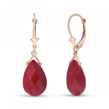 Ruby Droplet Earrings 16 ctw in 9ct Rose Gold