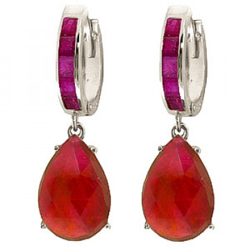 Ruby Droplet Huggie Earrings 1.3 ctw in 9ct White Gold
