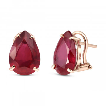 Ruby Droplet Stud Earrings 10 ctw in 9ct Rose Gold