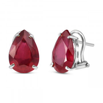 Ruby Droplet Stud Earrings 10 ctw in 9ct White Gold