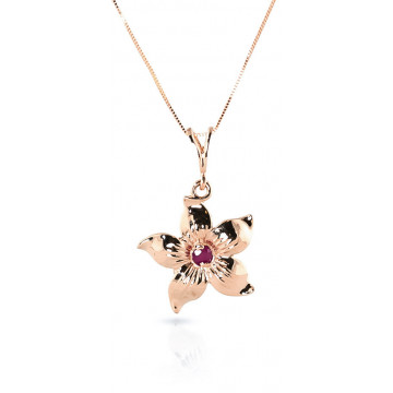 Ruby Flower Star Pendant Necklace 0.1 ct in 9ct Rose Gold