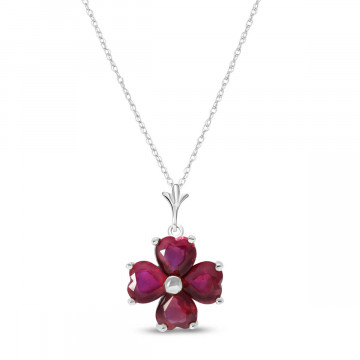 Ruby Four Leaf Clover Pendant Necklace 3.6 ctw in 9ct White Gold
