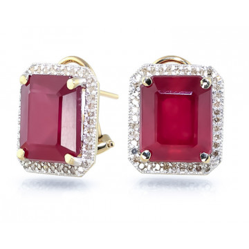 Ruby French Clip Halo Earrings 14.9 ctw in 9ct Gold