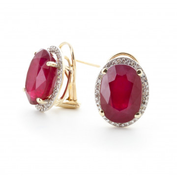 Ruby French Clip Halo Earrings 15.86 ctw in 9ct Gold