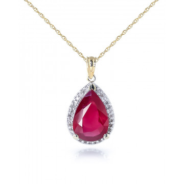 Ruby Halo Pendant Necklace 5.51 ctw in 9ct Gold