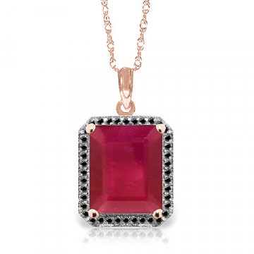 Ruby Halo Pendant Necklace 7.45 ctw in 9ct Rose Gold
