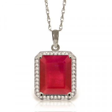Ruby Halo Pendant Necklace 7.45 ctw in 9ct White Gold